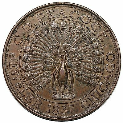 "'1837' (c. 1900) Chicago, IL: C.D. Peacock Token, ""Time Is Money"", HT-M23, XF"