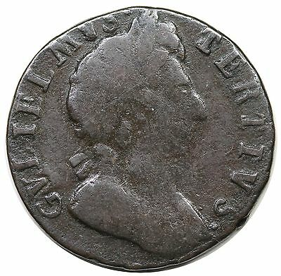 1699 Great Britain Farthing, William III, date in exergue, S-3557, nice VG