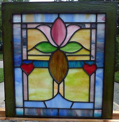 Victorian tulip and hearts leaded stained glass window