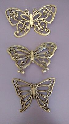 Homco Syroco Butterfly Wall Plaques - Set of 3 Vtg Brown Wood Tone Retro