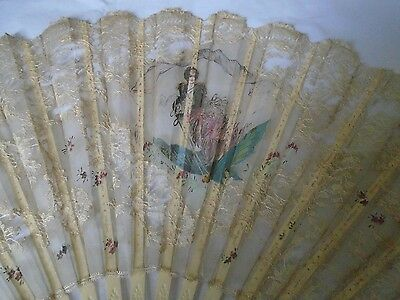 Antique Brussels lace and handpainted fan
