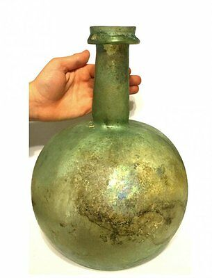 RARE Ancient Roman Glass Jar . 10in