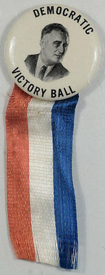 "Prohibitively Rare Roosevelt Democratic Victory Ball 1 1/4"" Cello Button-Mint!"
