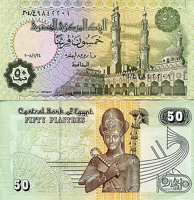 EGYPT 50 Piastres Banknote World Paper Money UNC Currency Pick p62 Ramus II Bill