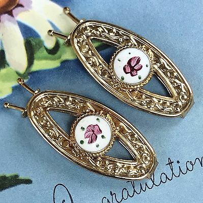Sarah Coventry Barrette Set,Vintage,Guilloche, Gold, Enamel Rose Victorian G60A