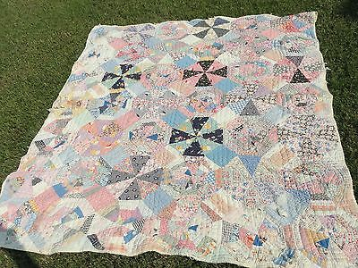 vintage hand stitched quilt 86 x 68 in for crafts