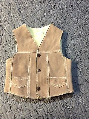 Geuine Suede/leather Vest 6T-Cowboy Western Sherpa Lined