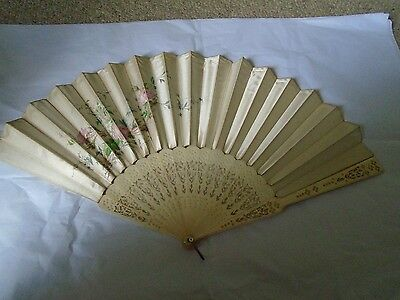 Antique silk and handpainted fan, beautifully carved sticks