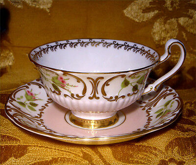 E.b. Foley Rose Bud Ribbed Embossed Cup & Saucer Pink And Gold Made In England