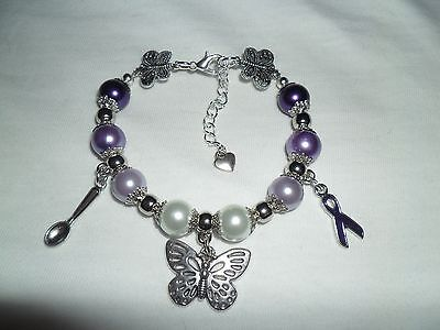 Fibromyalgia Fibro awareness charm bracelet - spoon/butterfly charms