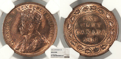 CANADA George V 1911 Cent NGC MS-63 BN