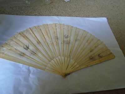 Antique mother of pearl and Brussels lace fan with huge tassel
