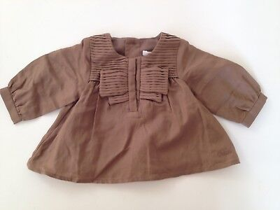 Chloe Designer Newborn Baby Girl Cotton Silk Blend Blouse Top Age 1 Month Rrp£99