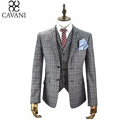 Mens Cavani Check Tweed 3 Piece Suit Blazer Waistcoat Trousers Sold Separate New