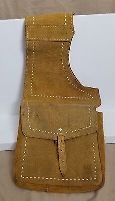 Vintage Yellow Leather Horse Double Saddle Bag Made in Mexico