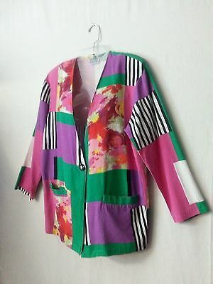 VTG 80s Roger Buchard Women Jacket Blazer Top MultiColor Floral Geomtrc Disco M