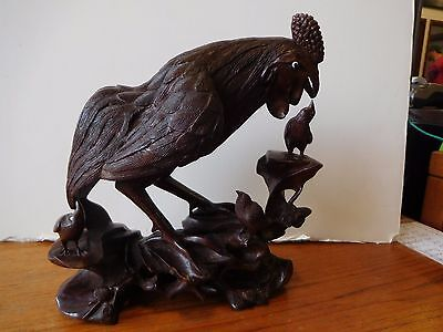 Vintage Hand Carved Wooden Rooster Feeding Smaller Birds