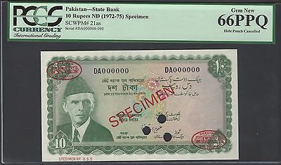 Pakistan 10 Rupees ND (1972-75) P21as  Specimen TDLR Uncirculated