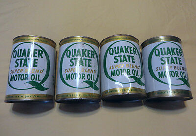 4-Vintage - Quaker State Motor Oil - Super Blend SAE 10W-20W-30HD Full Quart Can
