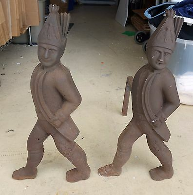 Antique Andirons figural soldier cast iron