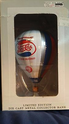 1997 Pepsi-Cola Brand, SpecCast Die-Cast Metal Hot Air Balloon Bank  New in Box