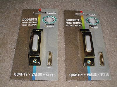 (2) TWO METAL HEAVY DUTY LIGHTED PUSH-BUTTON POLISHED BRASS Doorbell DOOR BELL