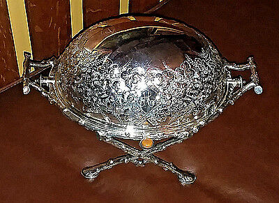 Victorian Aesthetic Movement Silverplate Dome Serving Dish London Maple & Co.