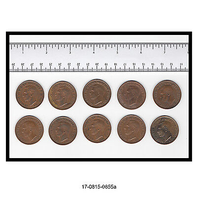 Lot of Ten Australian George VI Large Pennies