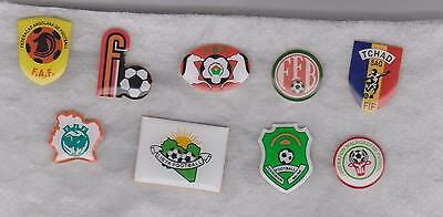 Nine African F. A.s' metal lapel badges (pins) in excellent condition.