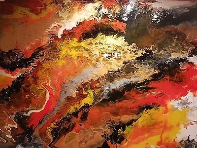 Large Abstract painting on canvas, liquid acrylic poured painting