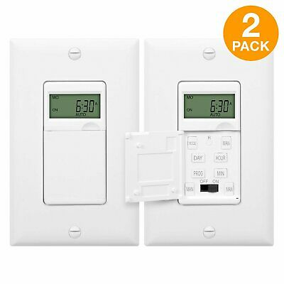 Digital Programmable Timer Switch for Lights TopGreener HET01-C (2 Pack)