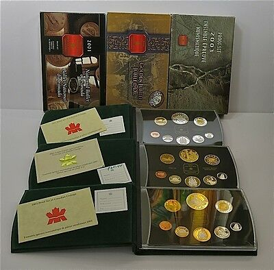 3 Royal Canadian Mint Proof Sets Lot 2001 2002 2003 Canada with COA