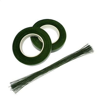 "3 Pack Floral Tape Stem Wrap 1/2""x30 Yards with 22 Gauge Dark Green Paddle Wire"