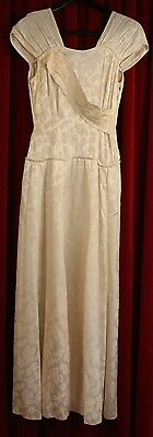 SMALL, 1940's CREAM WEDDING, OR FORMAL DRESS. ORIGINAL VINTAGE. AS IS.