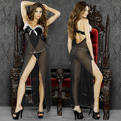 Plus Size 2X Black Long Gown and G-String Lingerie F0011X