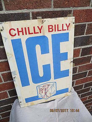 Vintage Chilly Billy Ice Sign - Double Sided - Rare - Hard To Find