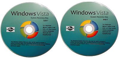 Vista 32 & 64 Bit Repair Recovery System Software Disc's x 2 - 2017