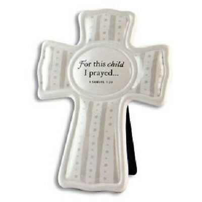 For This Child I Prayed-boy or girl ceramic cross baby baptism or shower gift