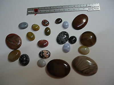 21 CABOCHONS. Bulk Lot. from 15mmx10mm up to 41 mm x 30 mm. various colours