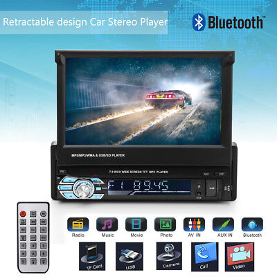 "GPS Navi Autoradio 7""Single DIN Flip-Out Car Stereo DVD/CD Player FM TF Card Cam"