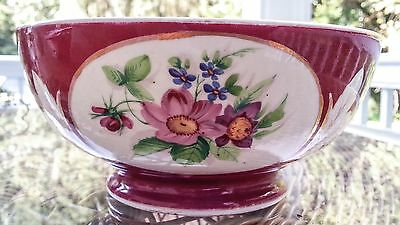 Antique Gardner Imperial Russian Red Floral 7 inch Decorative Bowl