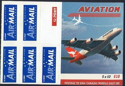 2008 AVIATION AUSTRALIAN INTERNATIONAL STAMP BOOKLET 5 x $2 STAMPS