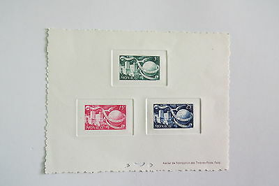 MONACO STAMPS 1949 UPU  final colour sunken proof  mini sheets MUH