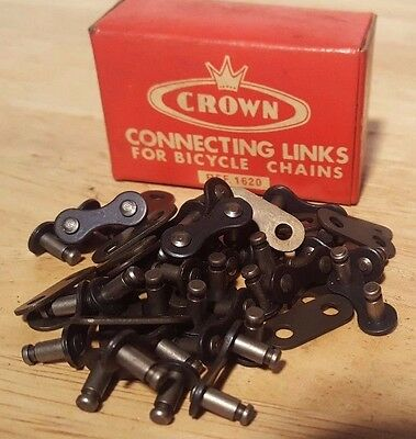 """Lot of Vintage NOS Crown Bicycle Connecting Master Links 1/2"""" x 1/8""""  No. 85c"""