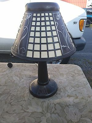 Scarce  Heintz Art Metal Silver Over Bronze Cutout Table Lamp - Arts And Crafts