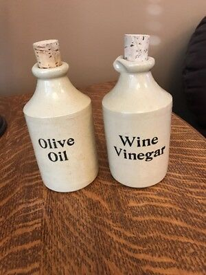 Vintage Stoneware Crock Set for Olive Oil/Wine Vinegar Pearson's Of Chesterfield