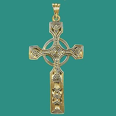 Vintage Gold Celtic Scottish Iona Cross Pendant with Triquetra Double Trinity