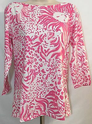 Nwot Women's Lilly Pulitzer T Shirt 3/4 Sleeve White & Pink Size M