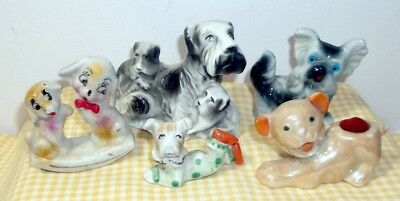 Vintage Porcelain Dog Figurine Lot - Scotty, Pin Cushion - All Old Made In Japan