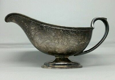 Antique Dutch Silverplate Gravy Boat Beautiful Patina Windmill Mark